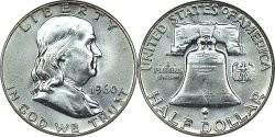 Полдолларовая серебряная монета с изображением Франклина