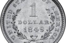 Долларовая золотая монета 1849 года