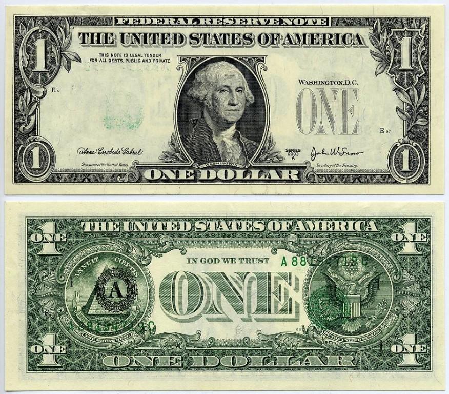 Банкнота 1 доллар США с двух сторон