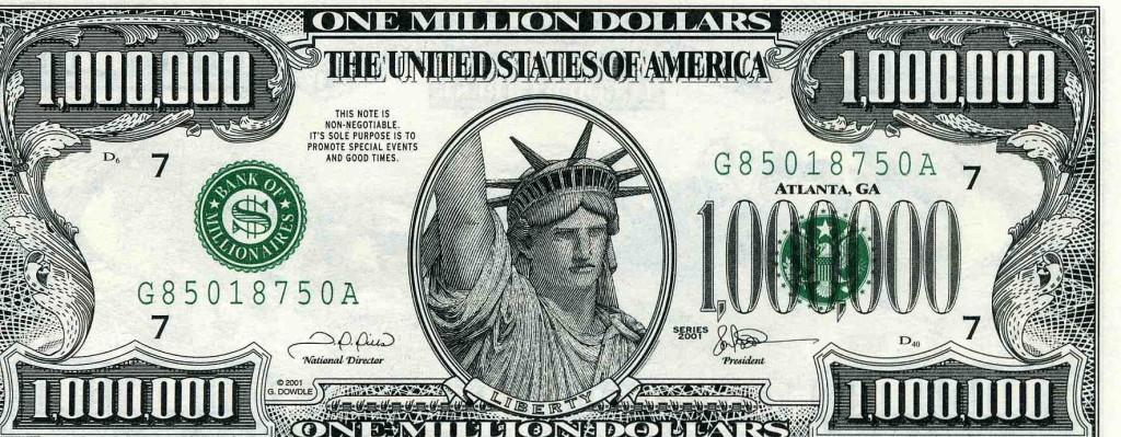 Купюра в 1 000000 долларов