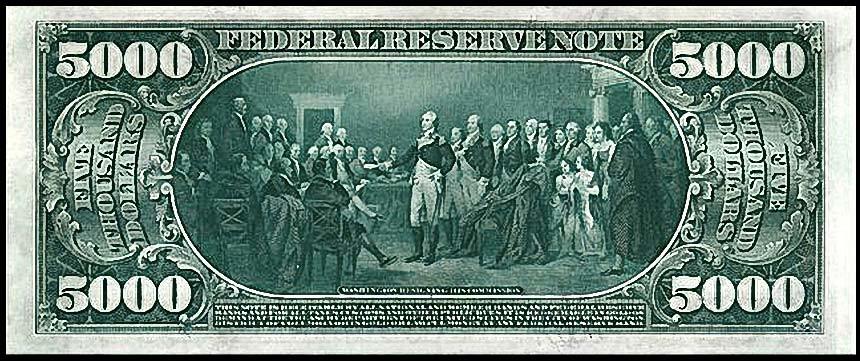 Оборотная сторона купюры 5000 долларов, 1914 года выпуска