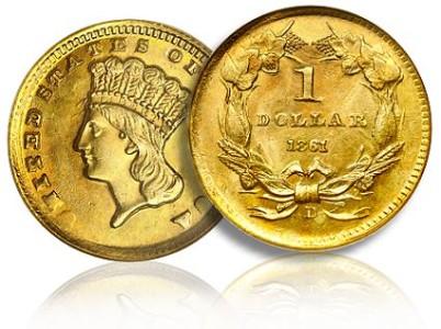 Золотой доллар 1861 года