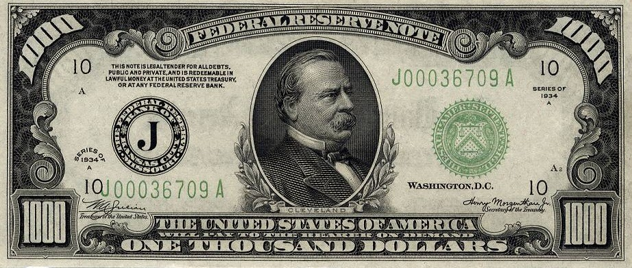 Купюра в 1000 долларов с президентом Фашингтоном