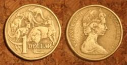 """1 австралийский доллар, """"Пять кенгуру"""", 1984 г."""