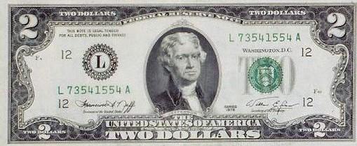 Купюра 2 доллара сша 2009 цена топор кельтский фото