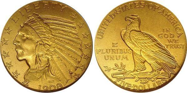5 долларов из чистого золота