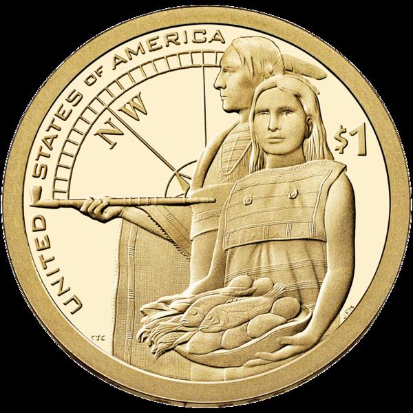 Монета 1 доллар США 2014
