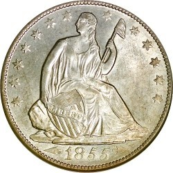 Серебряная полдолларовая монета 1855 года выпуска