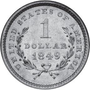 Долларовая монета 1849 года