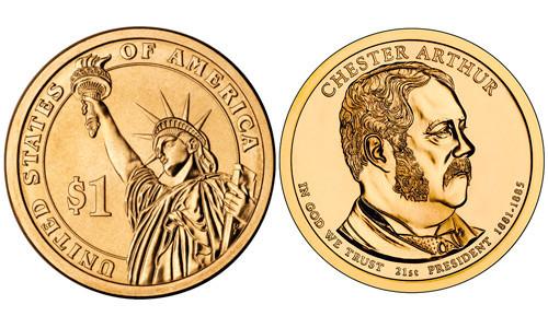 1 долларовая монета в честь Артура Честера