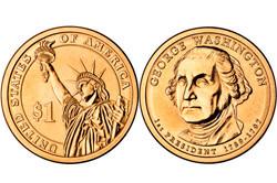 1 долларовая монета в честь Джорджа Вашингтона